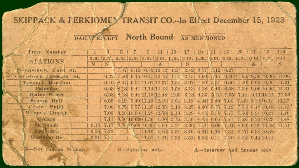 1923 trolley timetable
